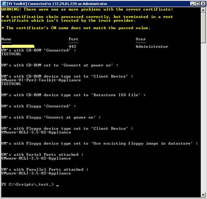 Powershell : List VMs with CD-ROM, Floppy, Seriel Ports and